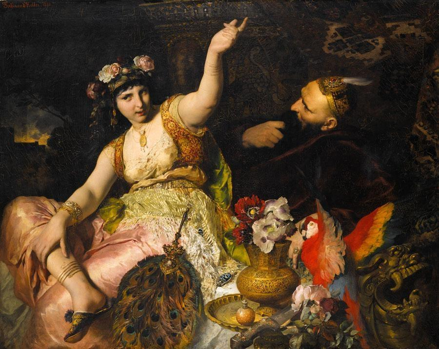 An oil painting of Scheherazade and Sultan Schariar