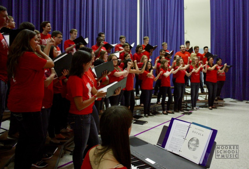 A picture of the Moores School of Music Concert Chorale in a recent performance at La Grange Elementary School