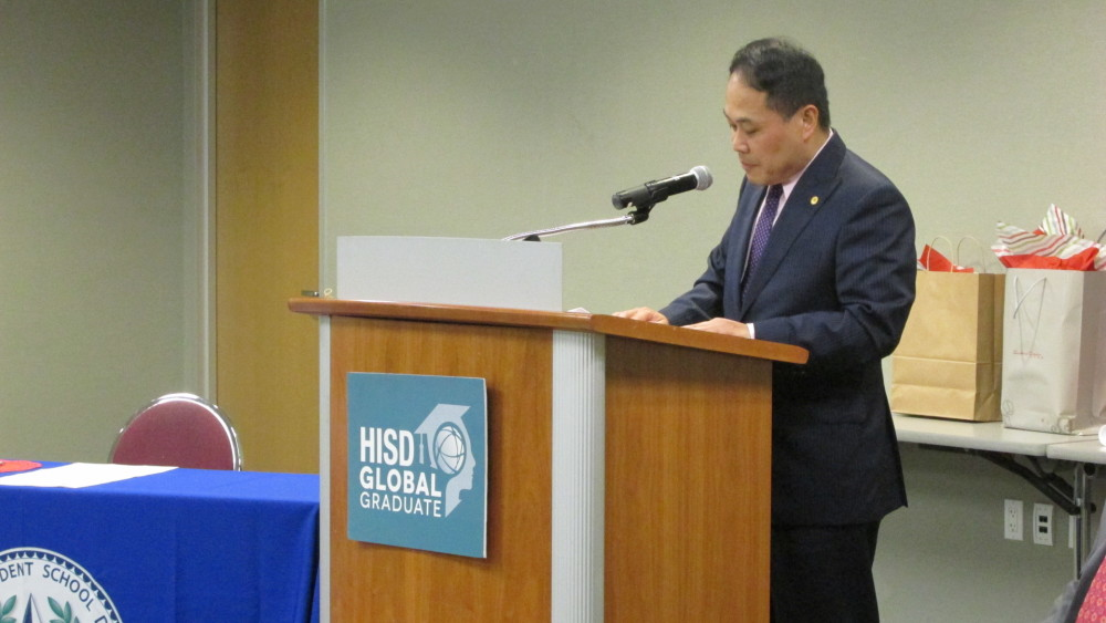 Louis Huang, director general of the Taipei Economic and Cultural Office in Houston, spoke at the announcement of a formal partnership between Taipei's Department of Education and HISD.