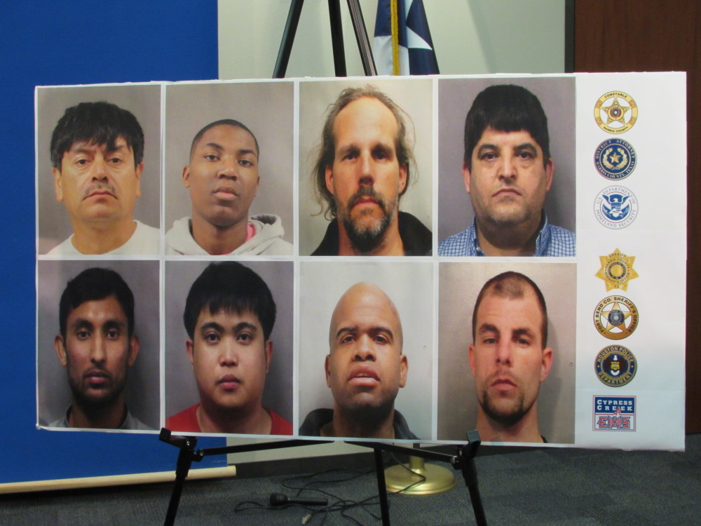 photos of eight men arrested in online sting