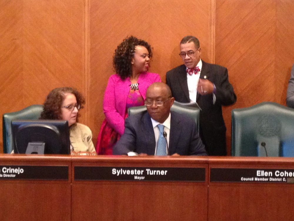 Houston's new Mayor Sylvester Turner presided over the City Council meeting for the first time on Monday.