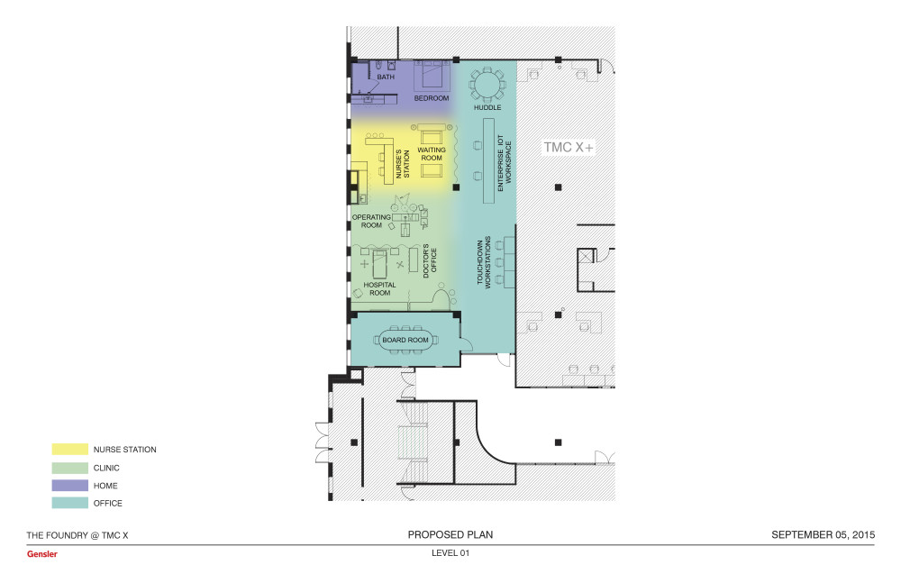 A floor plan for the Foundry for Connected Health. The innovation hub will allow experimentation at  mock-ups of an operating room, a doctor's office and a patient's home.