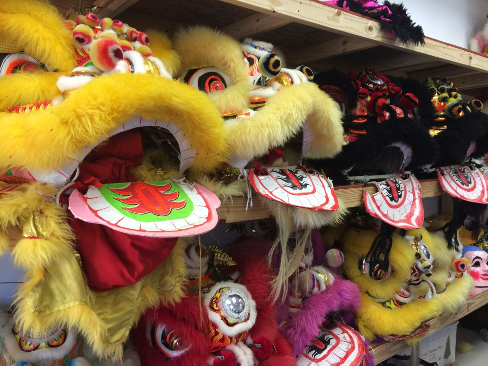 Lion dance props at Teo Chew temple