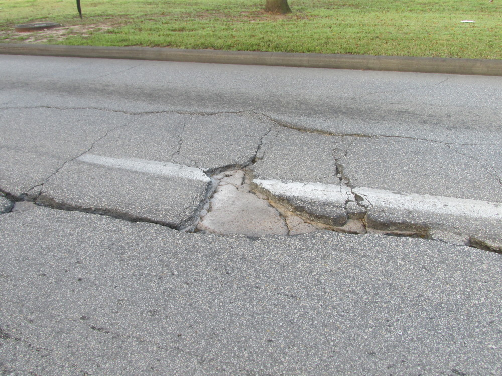 cracks in the road
