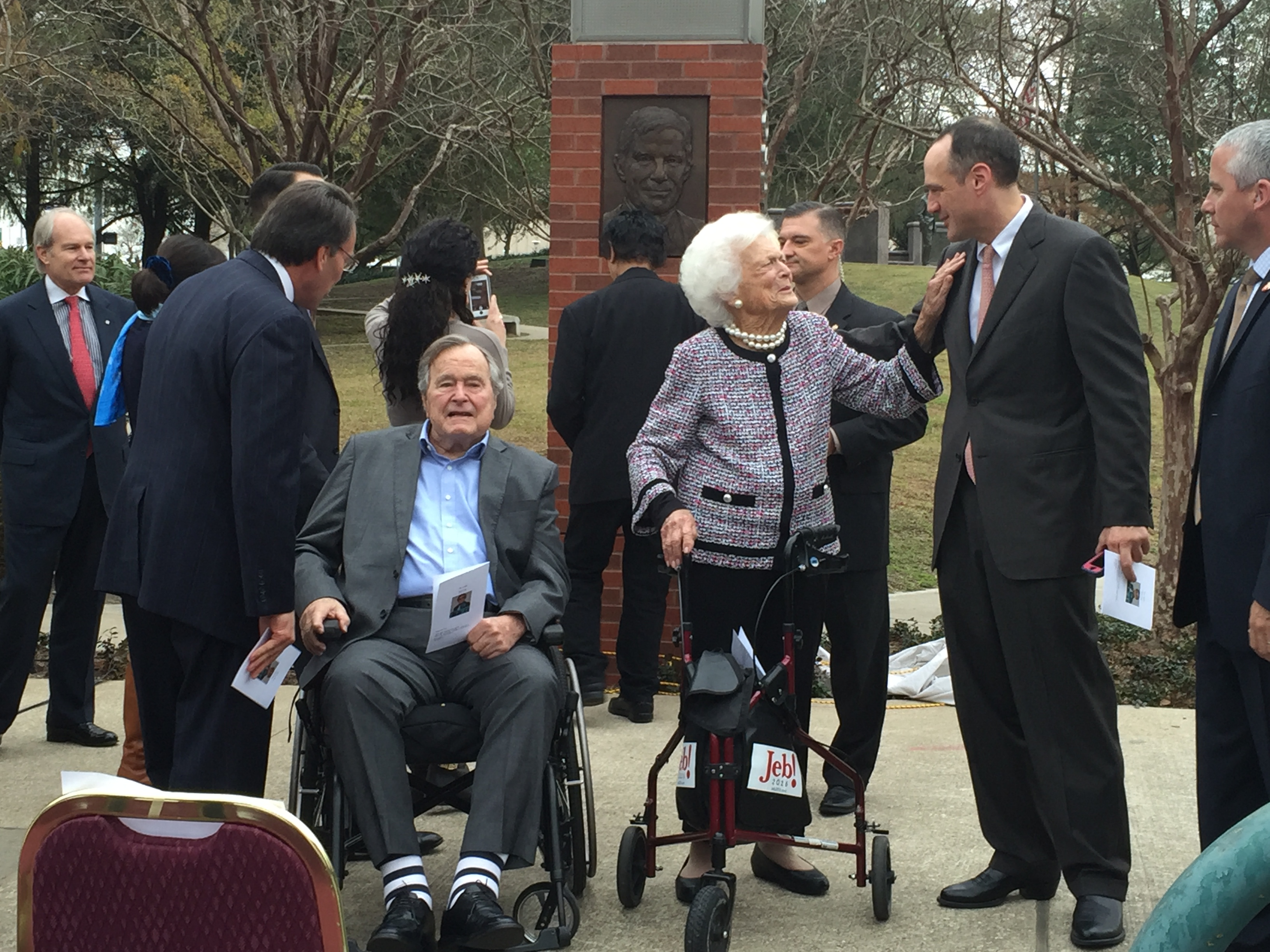 Former President George H.W. Bush and First Lady Barbara Bush greet visitors at the dedication ceremony in Houston.