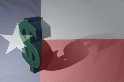 Texas flag with money symbol