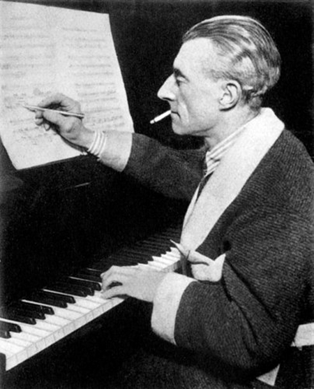 Photograph of Ravel composing at the piano