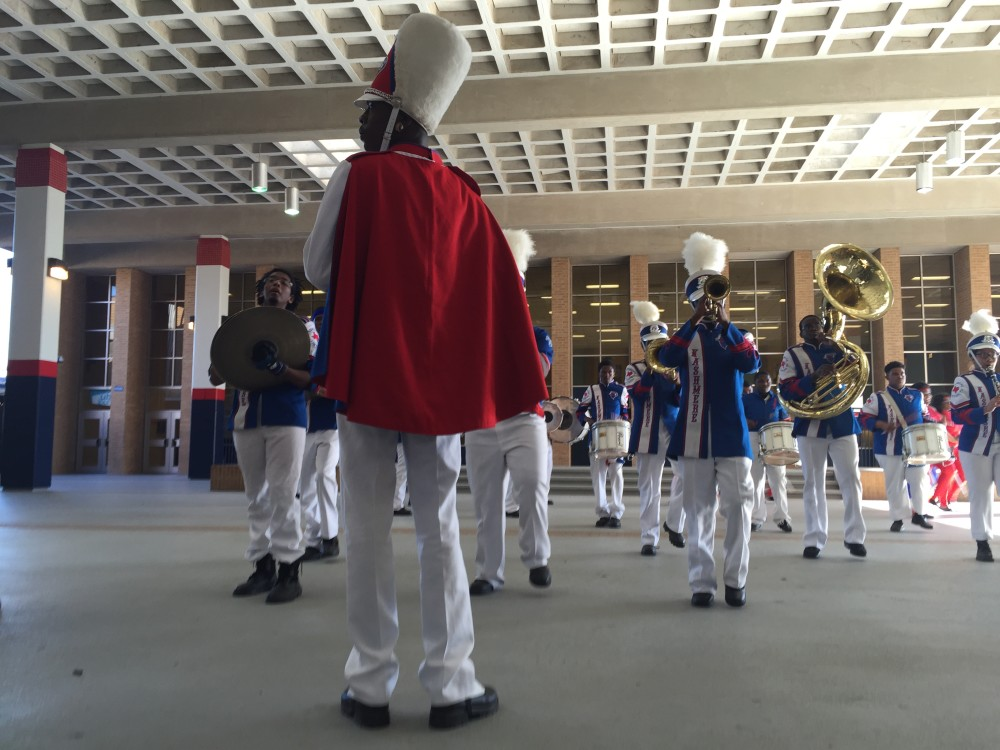 Students on a youth council and members of a community board helped create the new Kashmere Success Center on campus. The marching band celebrated the opening this week.