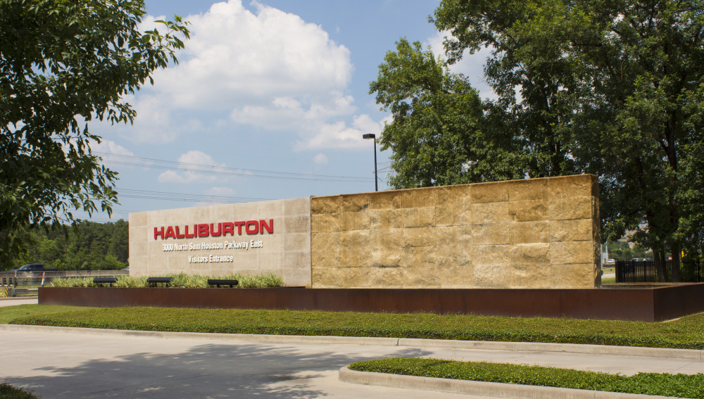 The sign at the entrance to Halliburton's North Belt Campus