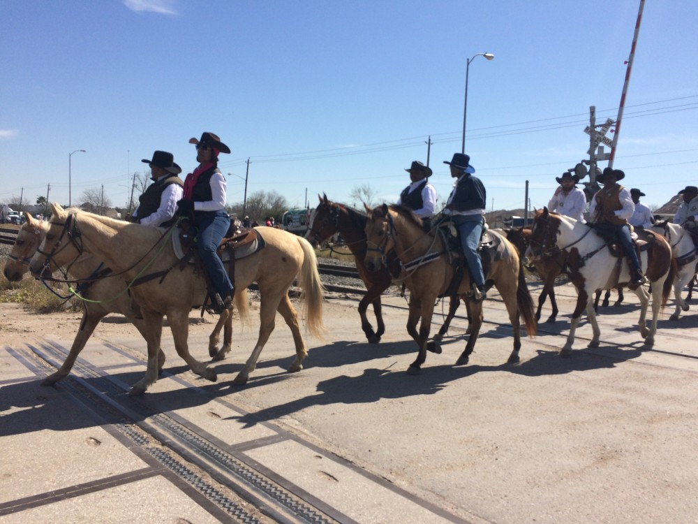 Riders along the Southwestern Trail traveling down Kirby Dr. in Houston
