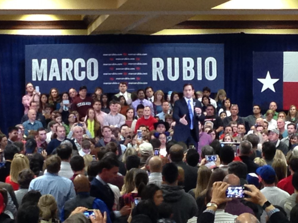Florida Senator and Republican Presidential candidate Marco Rubio held a campaign rally in the south section of Houston less than a week before the Super Tuesday primary elections, which will include Texas.