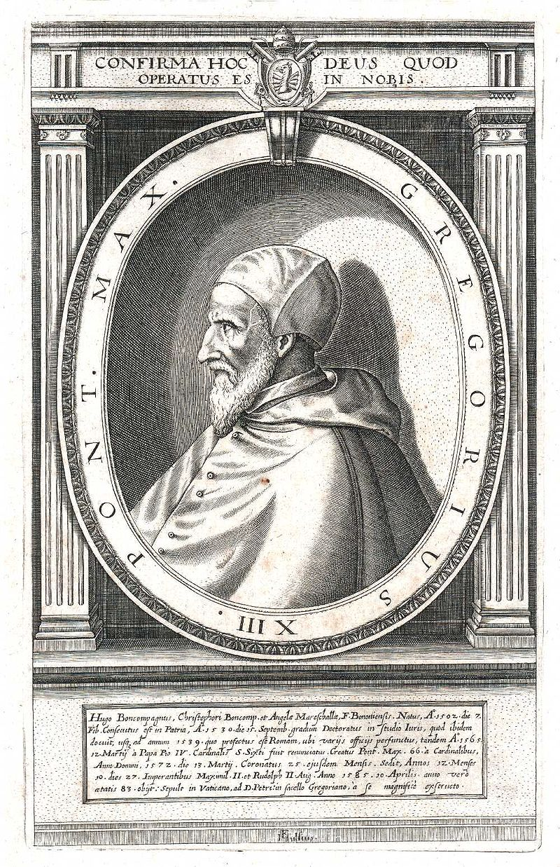 Pope Gregory XIII in an early 17th century engraving.