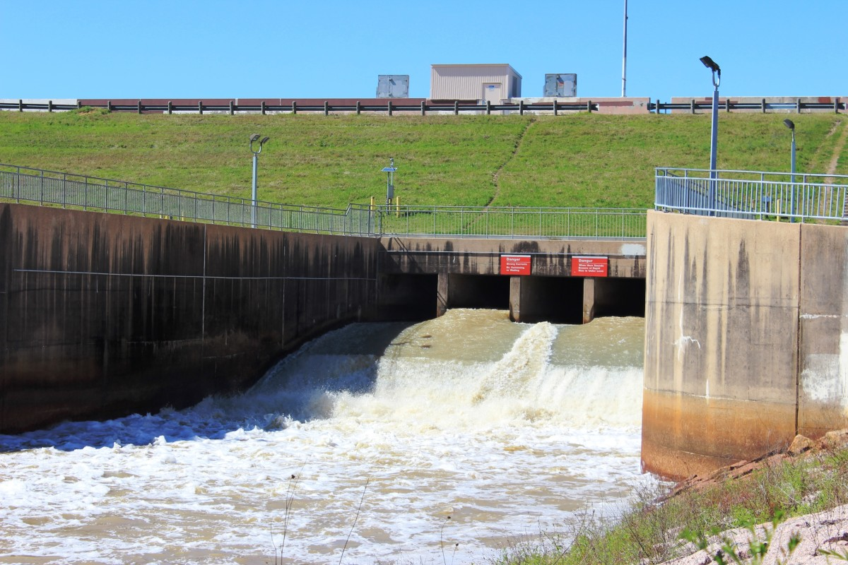 Water is released through gates from the Barker Reservoir