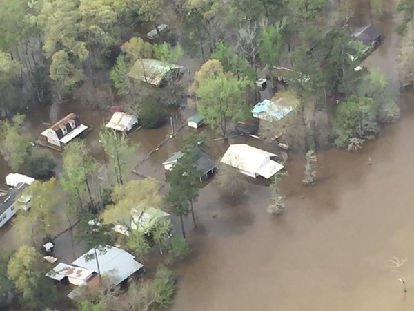 Flood Damage seen from helicopter