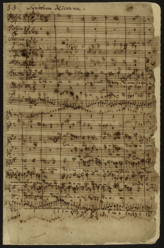 Manuscript selection from Bach's Mass in B Minor
