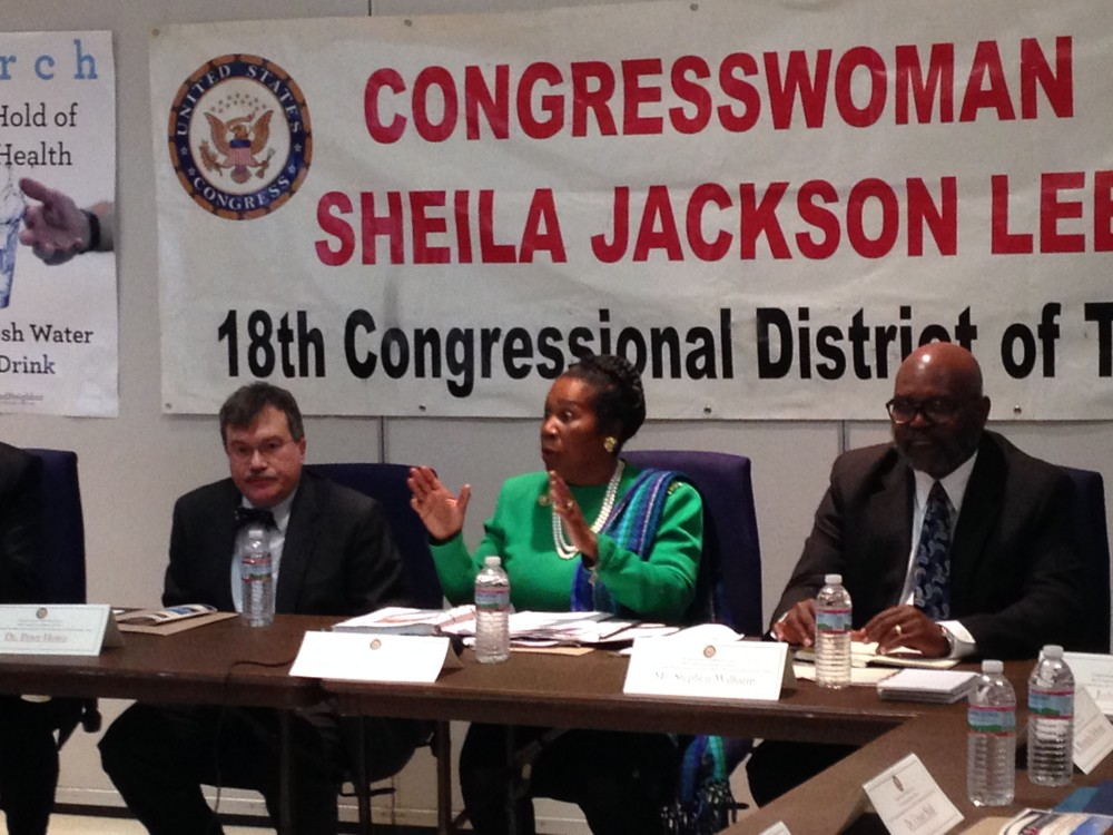 Dr. Peter Hotez, Director of the Center for Vaccine Development at Texas Children's Hospital, U.S. Congresswoman Sheila Jackson Lee, and Stephen Williams, Director of the City of Houston's Health Department, participating in a meeting about prevention of the Zika virus held in Houston.
