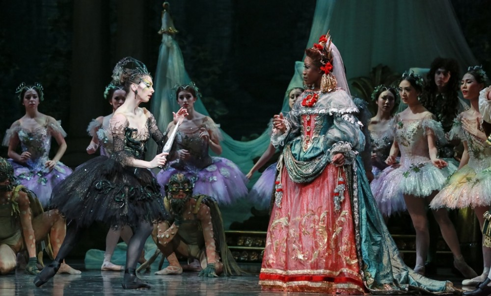 Melody Mennite (Carabosse), Lauren Anderson (the Queen), and Artists of Houston Ballet