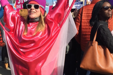 An abortion rights supporter dressed as a uterus outside the U.S. Supreme Court on March 2, 2016.