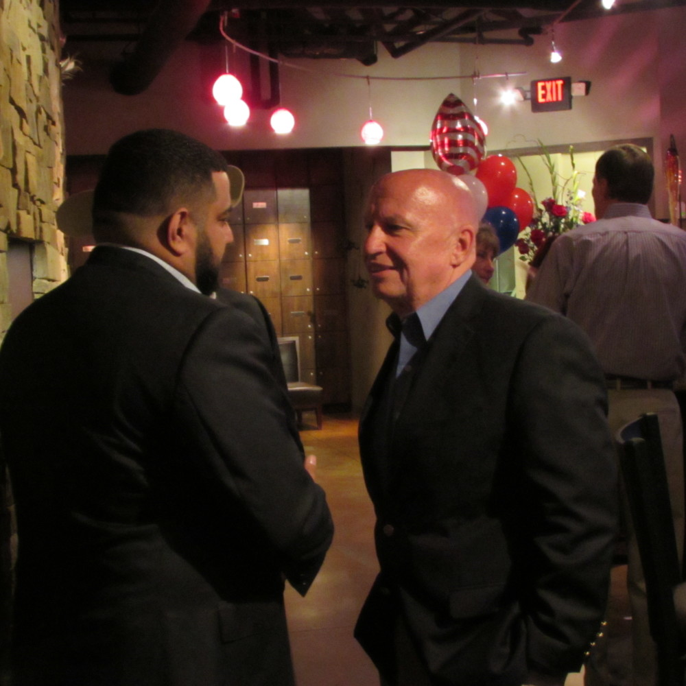Congressman Kevin Brady greets supporters at an election-night event in The Woodlands.