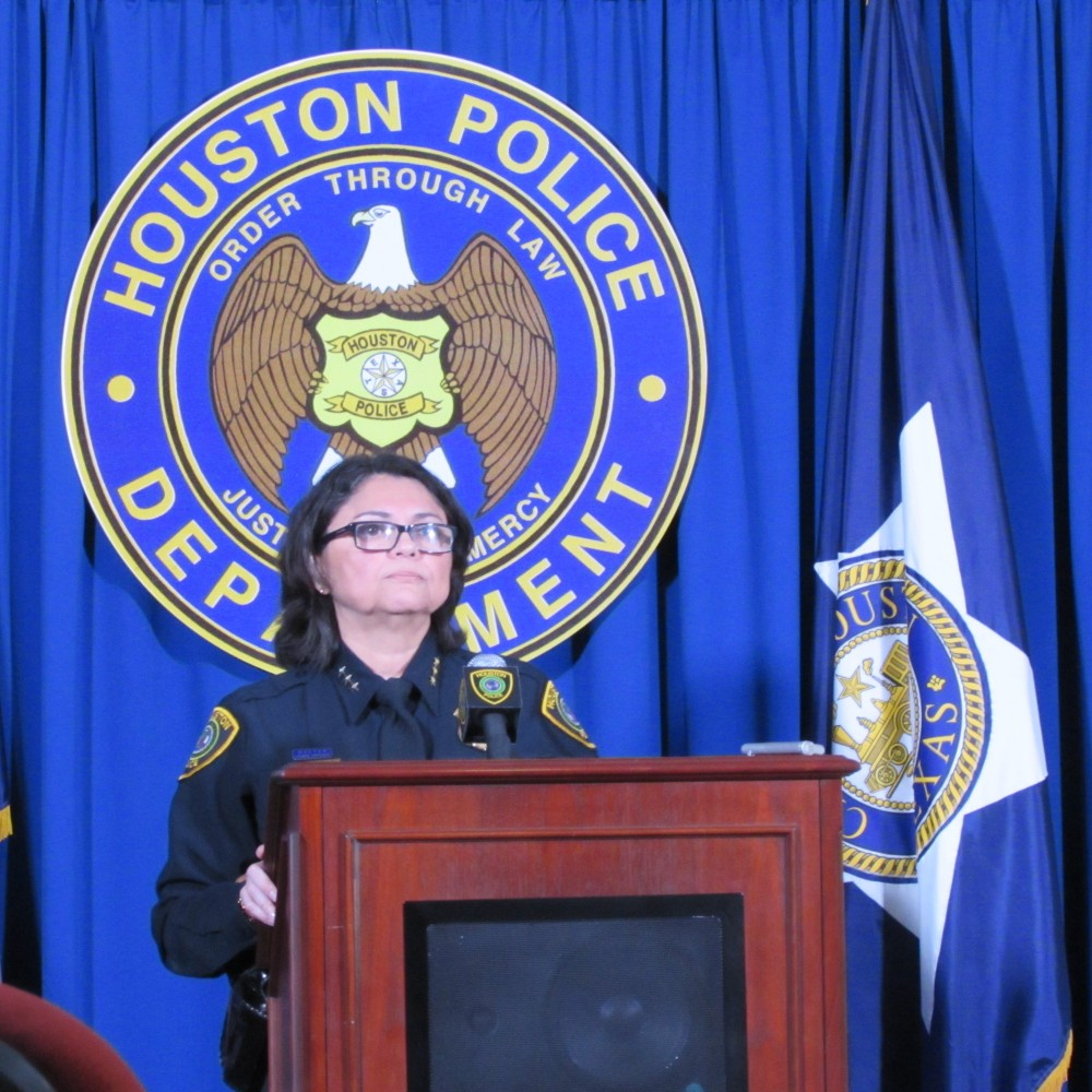 Houston Police Interim Chief Martha Montalvo says the body cameras local police officers are using have recorded about 13,000 videos.