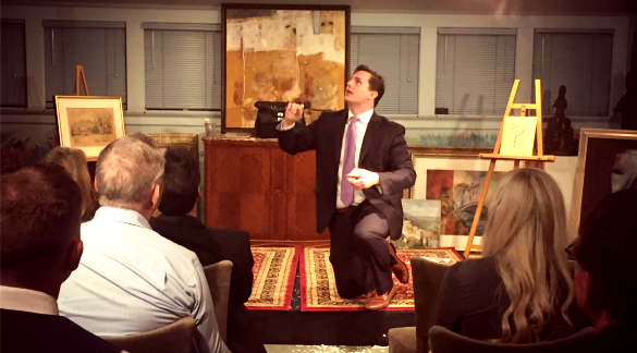 Magician Ben Jackson performs recently at The Colombe D'Or in Montrose. Photo: Edel Howlin, Houston Public Media