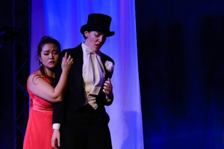 Yunnie Park (L-Euridice) and Laura Coale (R-Orfeo) in Opera in the Heights' production of Orfeo ed Euridice