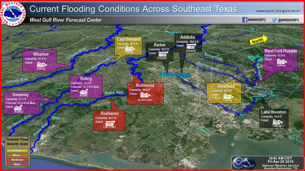 Here is an overview of the flood extent and stages across Southeast Texas.