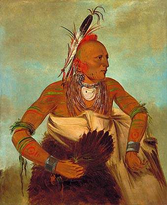 Osage Warrior of the Wha-Sha-She Band (a subdivision of Hunkah). Painted by George Catlin in 1834.