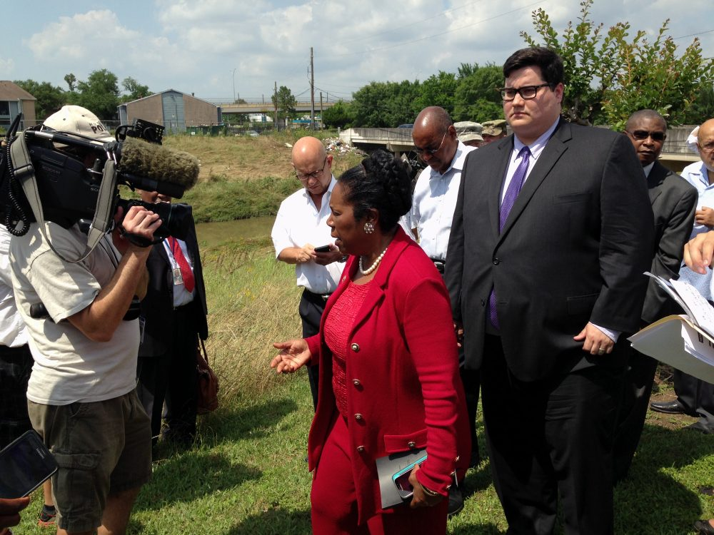 Congresswoman Sheila Jackson Lee tours the flood-damaged Greens Bayou Area with other lawmakers