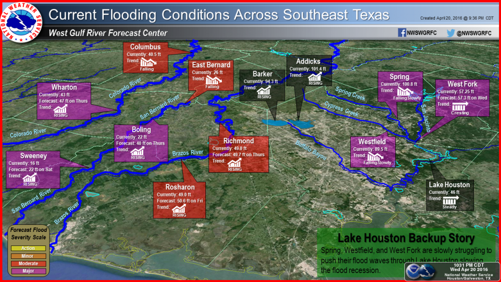 flood extent and stages Thursday Weather Updates