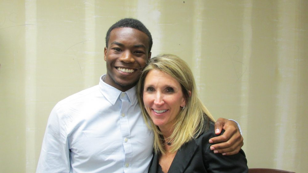Laura Isensee | Houston Public Media Isaiah Lucas, 17 is a senior at Cypress Falls High School. Becky Denton has been principal there for the last eight years.