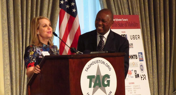 Houston Mayor Sylvester Turner with Metro Chairman Carrin Patman before the Transportation Advocacy Group - Gail Delaughter HPM