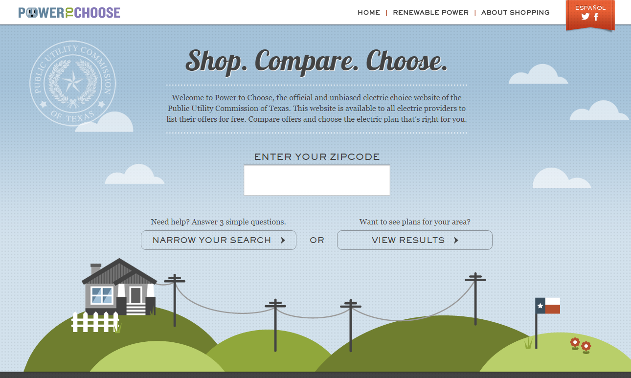 power to choose homepage