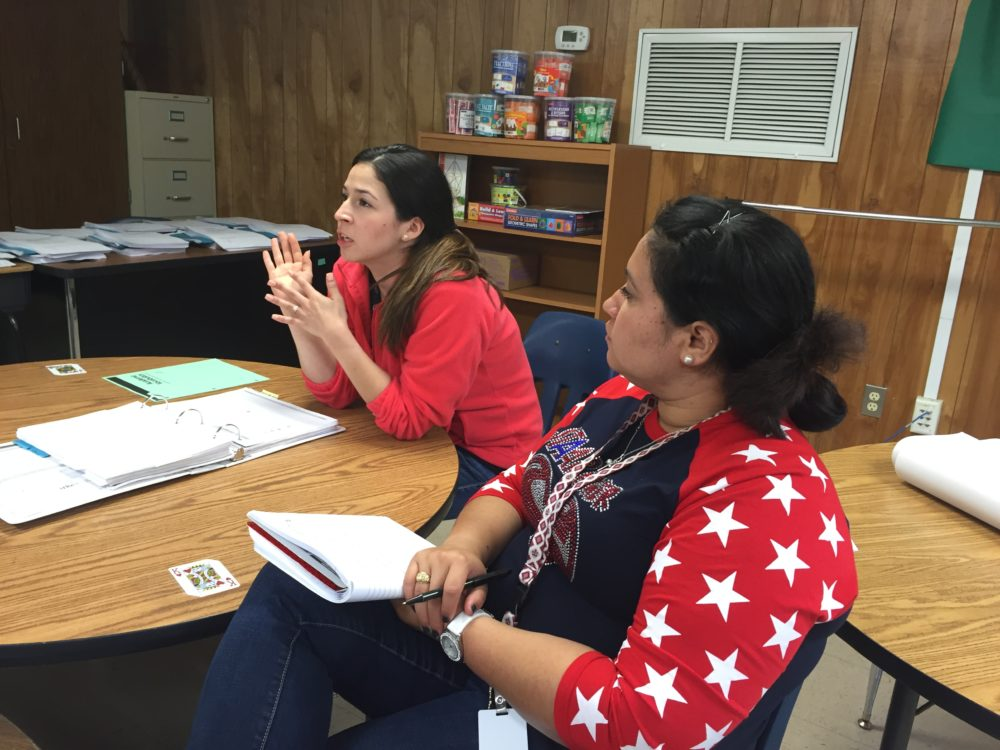 Bilingual teacher Pamela Pontvianne and Bussey Elementary assistant prinicpal Miriam Acosta join the weekly math planning session. Aldine ISD has put more focus on teacher support and professional development, according to a recent case study.