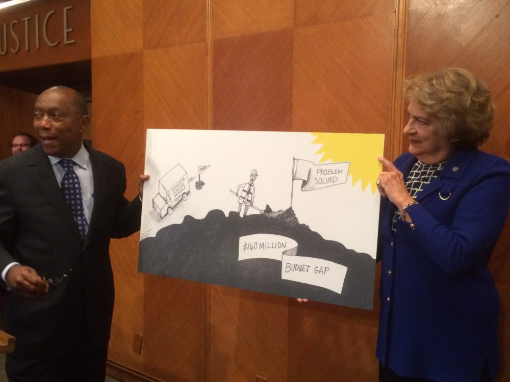 Mayor Sylvester Turner and Mayor Pro Tem Ellen Cohen hold up a cartoon - based on a related Houston Chronicle drawing - that symbolizes the mayor fixing the city's budget problem.