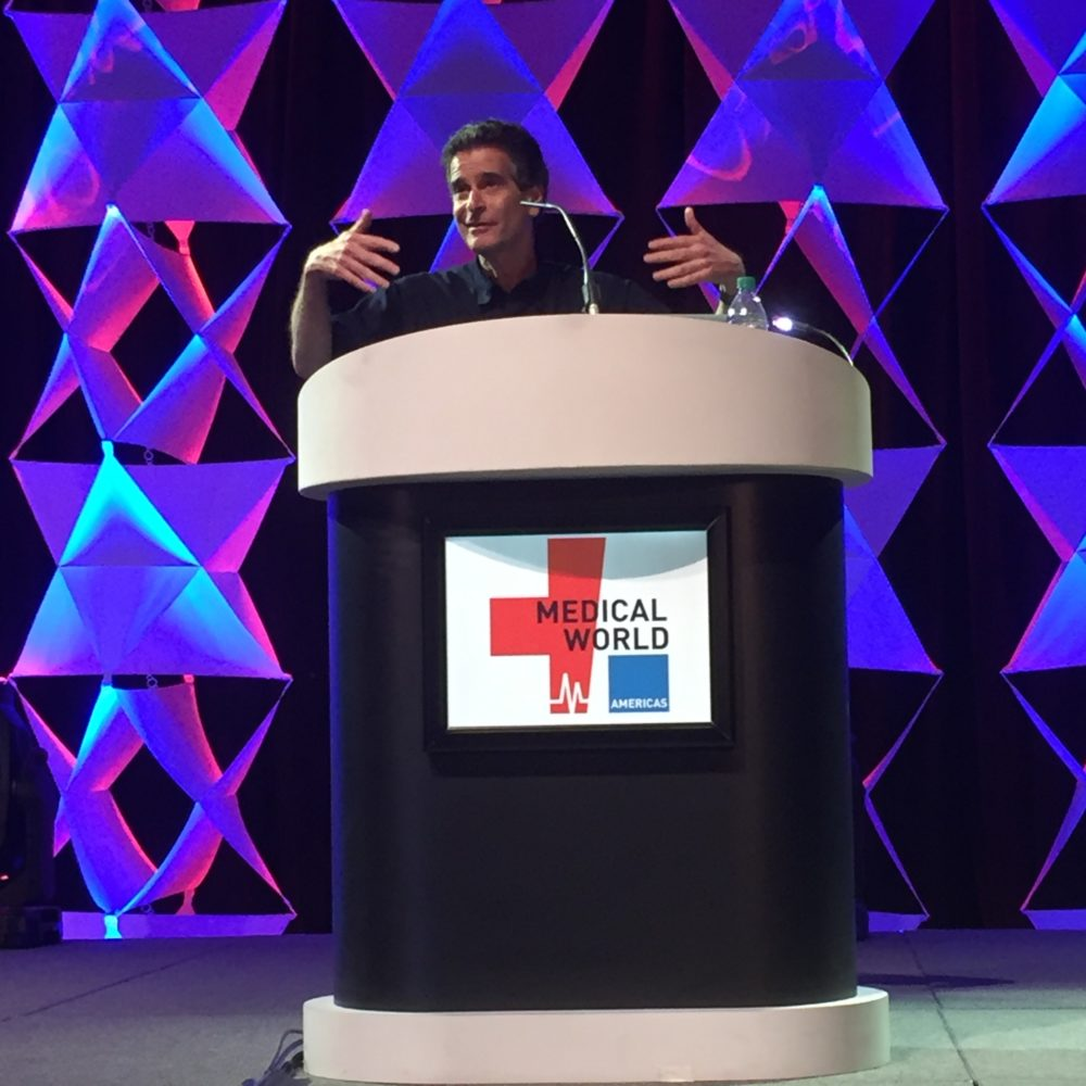 Dean Kamen, inventor of the Segway and medical devices, speaks during the third year of the Medical World Americas conference in Houston.