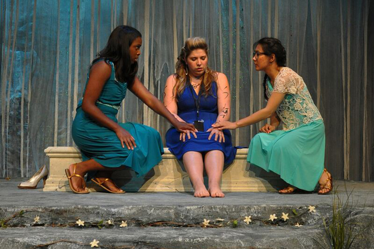 "Monique Holmes as Eurayale (left), Arianna Bermudez as Medusa (middle) and Susan Ly as Sthenno (right) in Mildred's Umbrella Theater Company's ""Dollface."""
