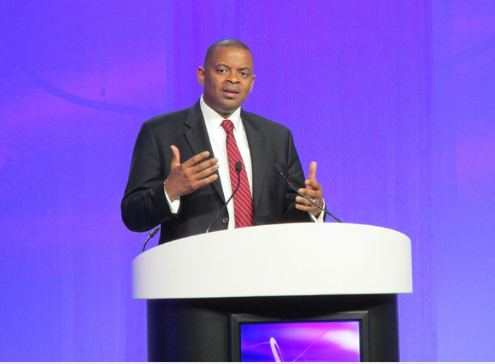 U.S. Secretary of Transportation Anthony Foxx speaking before the American Public Transportation Association in Houston in 2014.