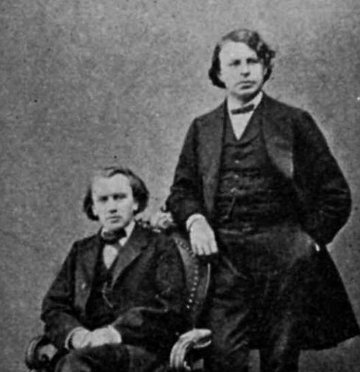 A photograph of Joseph Joachim and Johannes Brahms