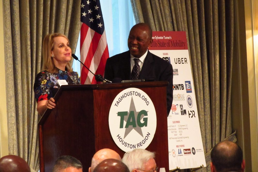 Houston Mayor Sylvester Turner with Metro Chairman Carrin Patman before the Transportation Advocacy Group.