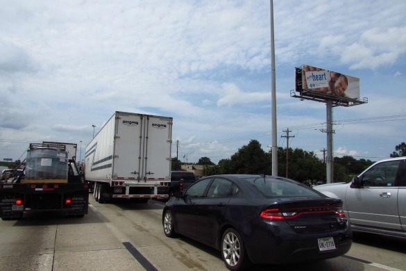 Traffic at a standstill on I-45 North on Tuesday, May 31, 2016. It took more than 90 minutes to get from the University of Houston to The Grand Parkway. The apparent culprit? One stalled car. (Photo: Gail Delaughter, Houston Public Media)