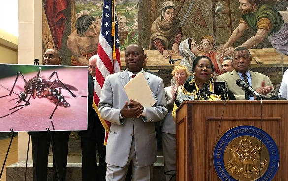 Houston Mayor Sylvester Turner and Congresswoman Sheila Jackson Lee speak out for federal Zika funding at St. Joseph Medical Center in downtown Houston on May 23, 2016. (Photo: Carrie Feibel, Houston Public Media)
