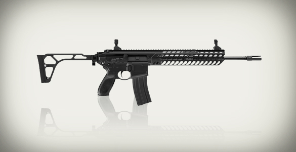 A Sig Sauer MCX rifle like the one used in the Orlando nightclub shooting. Image: Sig Sauer. Illustration: Michael Hagerty, Houston Public Media