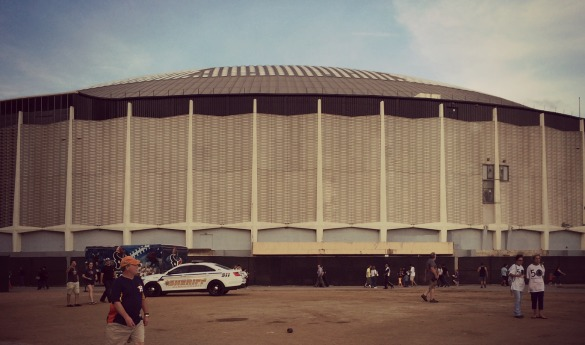 The exterior of the Astrodome as shown during the building's 50th birthday celebration. Photo: Michael Hagerty, Houston Public Media.