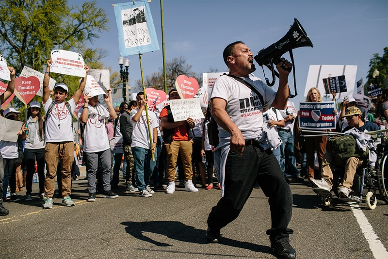 Tomas Martinez, with GLAHR, a grass roots organization from Atlanta, chants to excite the crowd in front of the U.S. Supreme Court in Washington, D.C., on Monday, April 18, 2016. Hundreds gathered in front of the U.S. Supreme Court to show their support for President Obama's immigration executive action as the Court hears oral arguments on the deferred action initiatives, DAPA and expanded DACA.