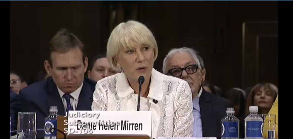 Dame Helen Mirren speaking at hearing