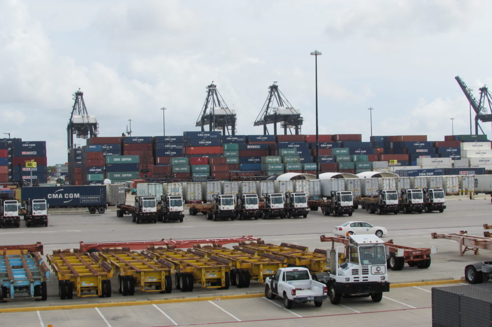 Giant cranes stand ready at the Bayport Container Terminal.