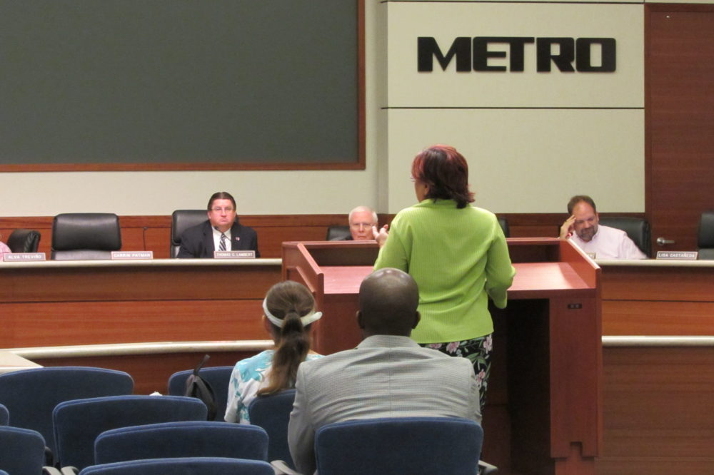 Southwest Houston commuters spoke to Metro board members at a public hearing on proposed service changes.