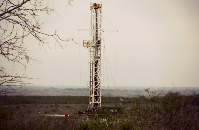A fracking rig in DeWitt County, Texas. Photo: Dave Fehling, Houston Public Media.