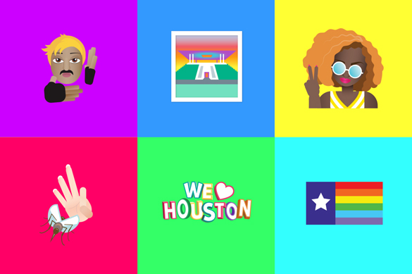 Houmoji -- Houston-themed emoji -- designed by Hannah McClure of the marketing and design firm Primer Grey. (Images Courtesy: Primer Grey)